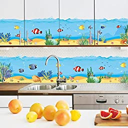 Amaonm® Under the Sea Colorful Fish Coral Green Grass Wall Decals Removable DIY art Decor Peel Stick Wall Stickers for Bathroom Toilets Kitchen Waistline Wall Corner Girls Bedroom