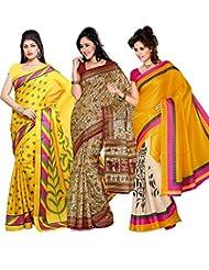 AISHA Printed Fashion Art Silk Multicolor Sari (Pack Of 3) - B00TYAJLR0