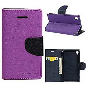 KONARRK Flip Case Cover With Stand For SAMSUNG GALAXY A3 (Purple & Blue)