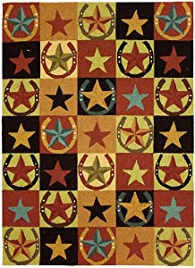 Homefires Western Stars and Horseshoes 28-Inch by 90-Inch Indoor Hand Hooked Area Rug