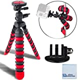 12 Inch Flexible Tripod w/ Wrapable Legs. Quick Release Plate for Great for All GoPro HERO Cameras  Tripod Mount & an eCostConnection Microfiber Clo