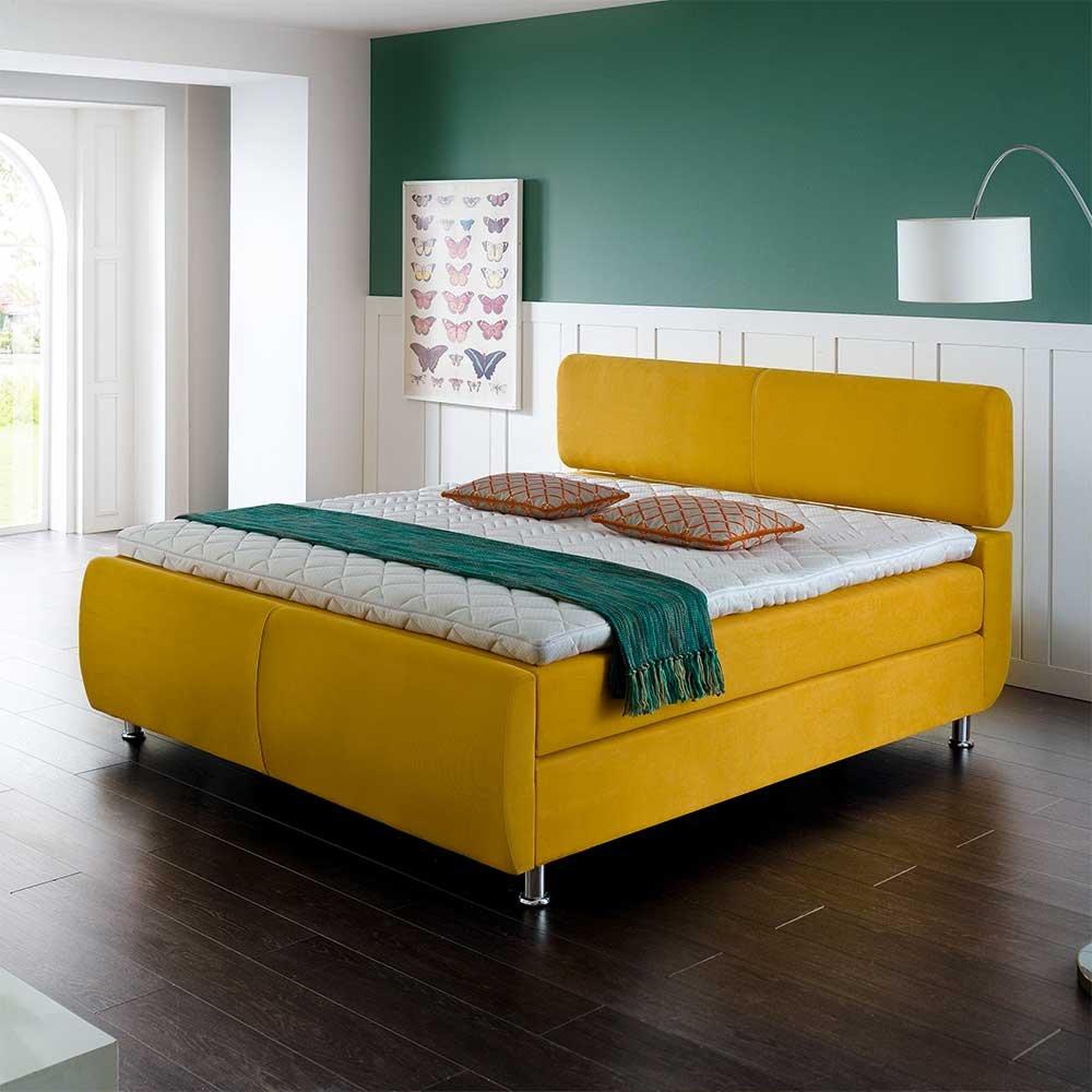 Amerikanisches Bett in Gelb modern (3-teilig) Breite 142 cm Liegefläche 140×200 Pharao24 online bestellen