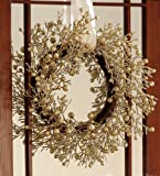 Gold Berries Christmas Branches 20″ Holiday Wreath By Collections Etc image