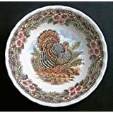 """Queen's Myott by Churchill Thanksgiving Turkey 6"""" Cereal Soup Bowls, Set of 4"""