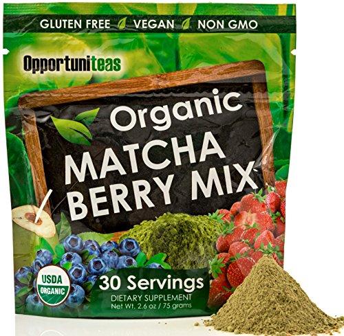 Organic Matcha Berry Drink Mix | Matcha Green Tea + Strawberry + Blueberry + Coconut Water | Antioxidant Powder Supplement | Gluten Free + Vegan + Non GMO | 30