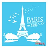 Paris Eiffel Tower Stencil -- DIY & reusable (Small- 9