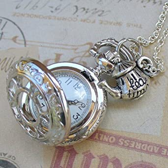 Alice in Wonderland Tea Party Steampunk pocket watch necklace-pw2