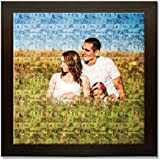 Clixicle **Free Customization** Photo Mosaic Collage Poster With Brown Frame, 12 Inches X 12 Inches