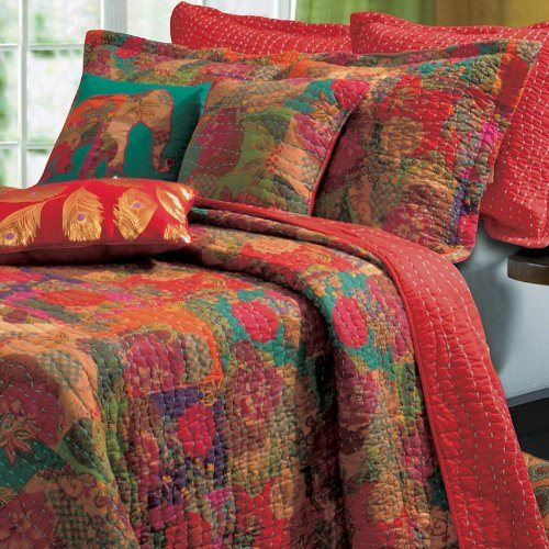 5Pc Tropical Red Floral Bedding Cotton Quilt Set Full/Queen + Pillows front-843722