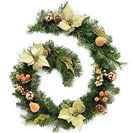 WeRChristmas - Ghirlanda natalizia decorativa, 180 cm, colore rosso/rame