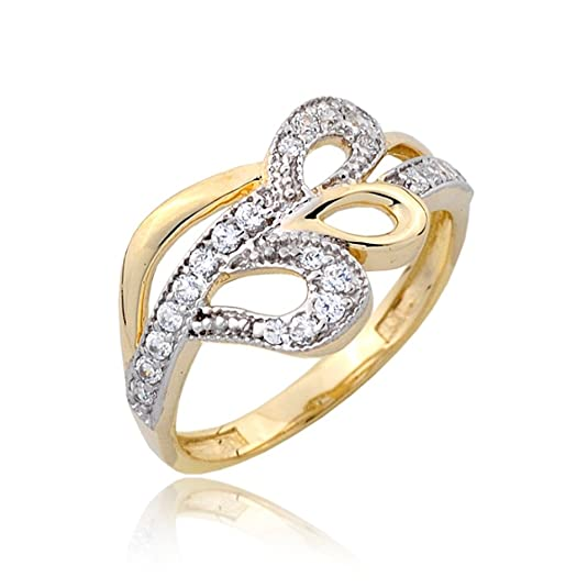 Three bows zirconia and gold pave ring