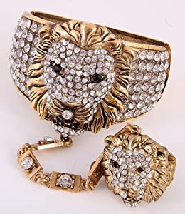 "Fold Over Bracelet and Ring Set / bracelet 2"" H / free sized ring / lion head / burnished-gold metal / rhinestone / lead & nickel compliant"