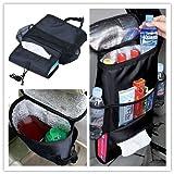 icase4u Organizador para el Asiento de Auto Holder Multi-bolsillos de Almacenamiento Bolsa de Viaje Saco Percha de Vuelta para Sillas de Coche, Color Negro
