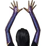 Adult Halloween Costume Accessory Mermaid Arm Sleeves (Purple) (Color: Purple, Tamaño: Medium)