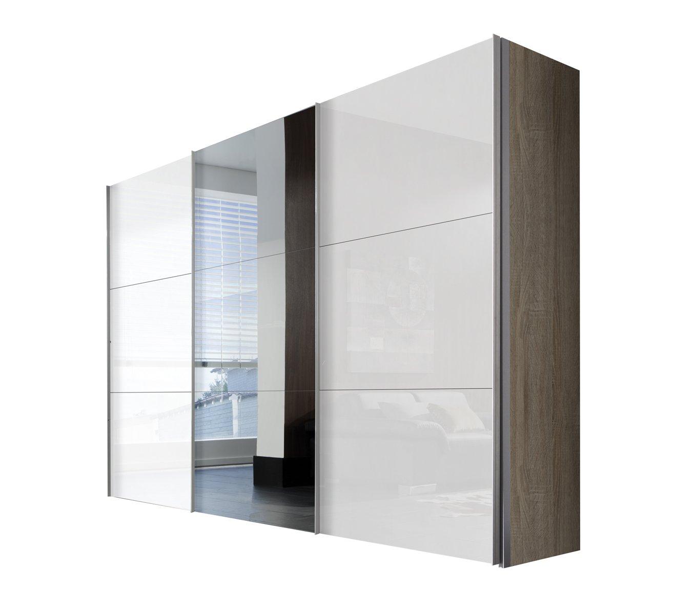 Solutions 46340-768 Schwebetürenschrank 3-türig, Griffleisten Alufarben, Korpus Sonoma-Eiche / Front Lack weiß und Spiegel