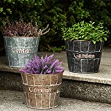 Metal Planter Flower Pot Succulent Container Garden Bucket for Indoor or Outdoor Balcony Patio with Drain Hole by CEDAR HOME, 8.5