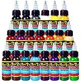 Solong Tattoo® 21 Basic Colors Tattoo Ink Set Pigment Kit 1oz (30ml) Professional Tattoo Supply for Tattoo Kit TI301-30-21