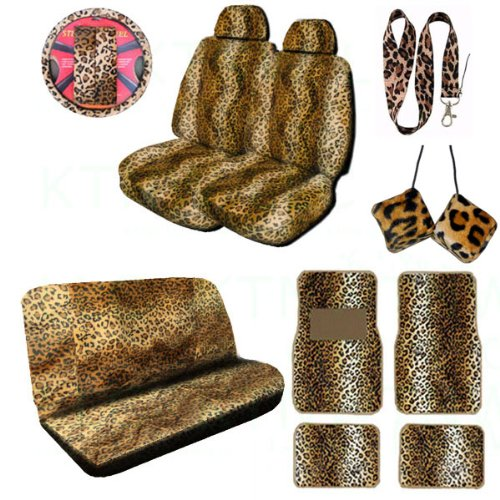 Wondrous A Complete Animal Print Seat Cover And Accessories Set 2 Low Caraccident5 Cool Chair Designs And Ideas Caraccident5Info