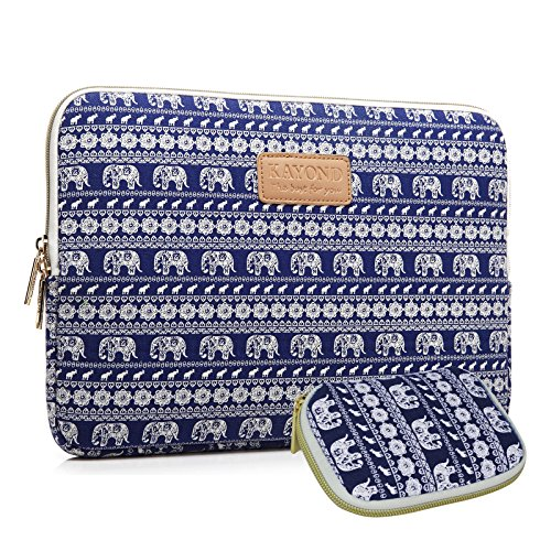 12. KAYOND Elephant Patterns Canvas Fabric 12 Inch Laptop / Notebook Sleeve Macbook / Macbook Pro / Macbook Air Sleeve Case Dell