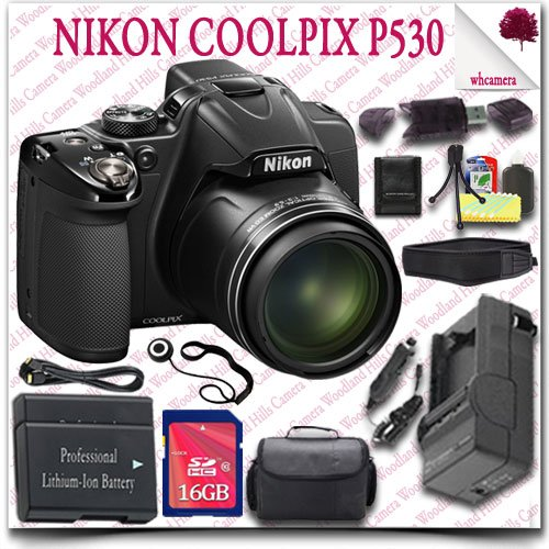Nikon Coolpix P530 Cmos Digital Camera (Black) + 16Gb Sdhc Class 10 Card + Hdmi Cable + Slr Gadget Bag + Neoprene Neck Strap 14Pc Nikon Saver Bundle