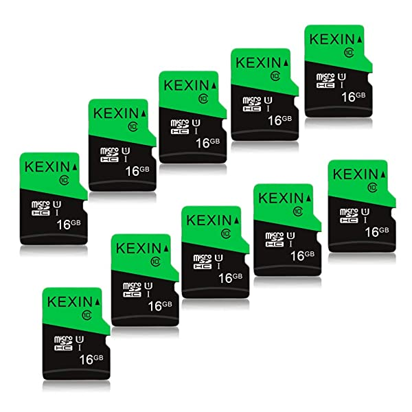 KEXIN 10 Pack 16 GB Micro SD Card TF Card Micro SDHC UHS-I Memory Cards Class 10 High Speed Micro SD Cards, C10, U1 (Color: D. 10 Pack 16GB, Tamaño: 16 GB)