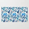 Poppylife Blush Pink, White and Blue Elephant and Floral Watercolor Area Rug Pattern Outdoor Floor Mats