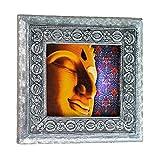 MJR Digital Print Carved White Metal Decorative Dry Fruits Box- The Spiritual Buddha - 5 x 5 inches.