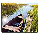 Mousepads Summer day on the lake with a rowing vessel and trees on the shore in Russia IMAGE 34562573 by MSD Mat Customized Desktop Laptop Gaming Mouse Pad