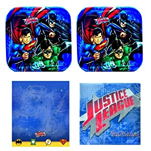 02 -dess - DC Comics Justice League party pack for 16, Party Supplies, Tablecover, plates, napkins