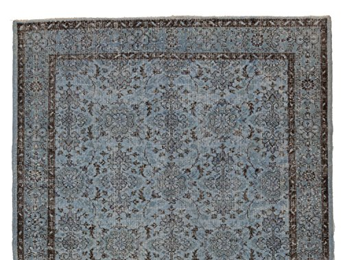 6.3 X 9.3 Feet Light Blue Color Overdyed Vintage Turkish Rug