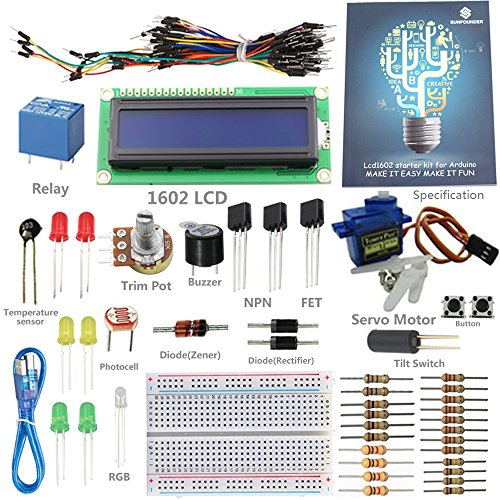 SunFounder Project 1602 LCD Starter Kit For Arduino UNO R3 Mega2560 Mega328 Nano (without Controller) - Including 43 Page Instructions Book (Arduino Programming Kit compare prices)