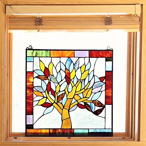 "River of Goods 15042 Tiffany Style Stained Glass Mystical World Tree Window Panel 18"" H 2"