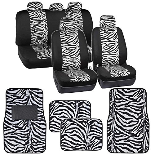 Two Tone White Zebra Seat Covers Floor Mats for Car Truck SUV Auto Accessories (Black Zebra Print Seat Covers compare prices)