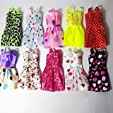 10pcs Multicolor Beautiful Handmade Party Dress Fashion Clothes For Barbie Doll Play House Dressing Up Costume