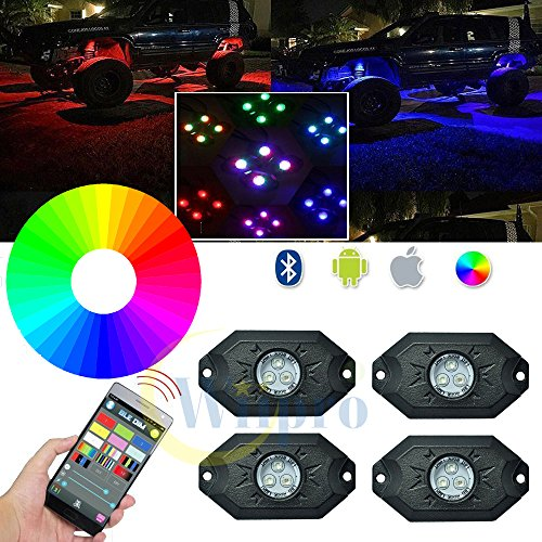 Wiipro RGB LED Rock Light Kits Cellphone APP Bluetooth Control with 4 pods Lights for JEEP Off Road Truck Car ATV SUV Vehicle Boat Interior with Timing & Music Mode (Truck Lights Accessories compare prices)