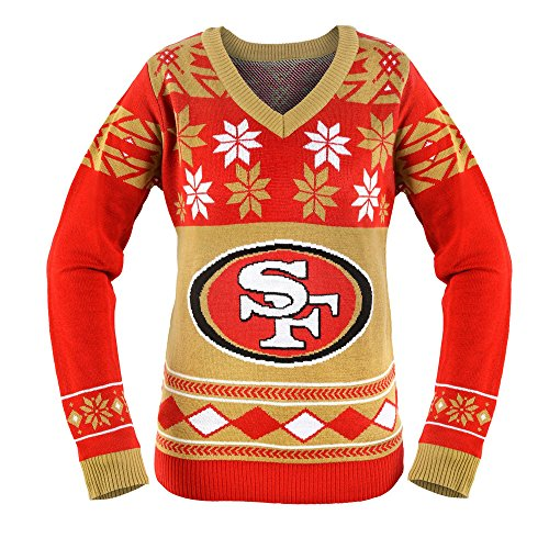 KLEW NFL San Francisco 49ers Women's V-Neck Sweater, Small, Red