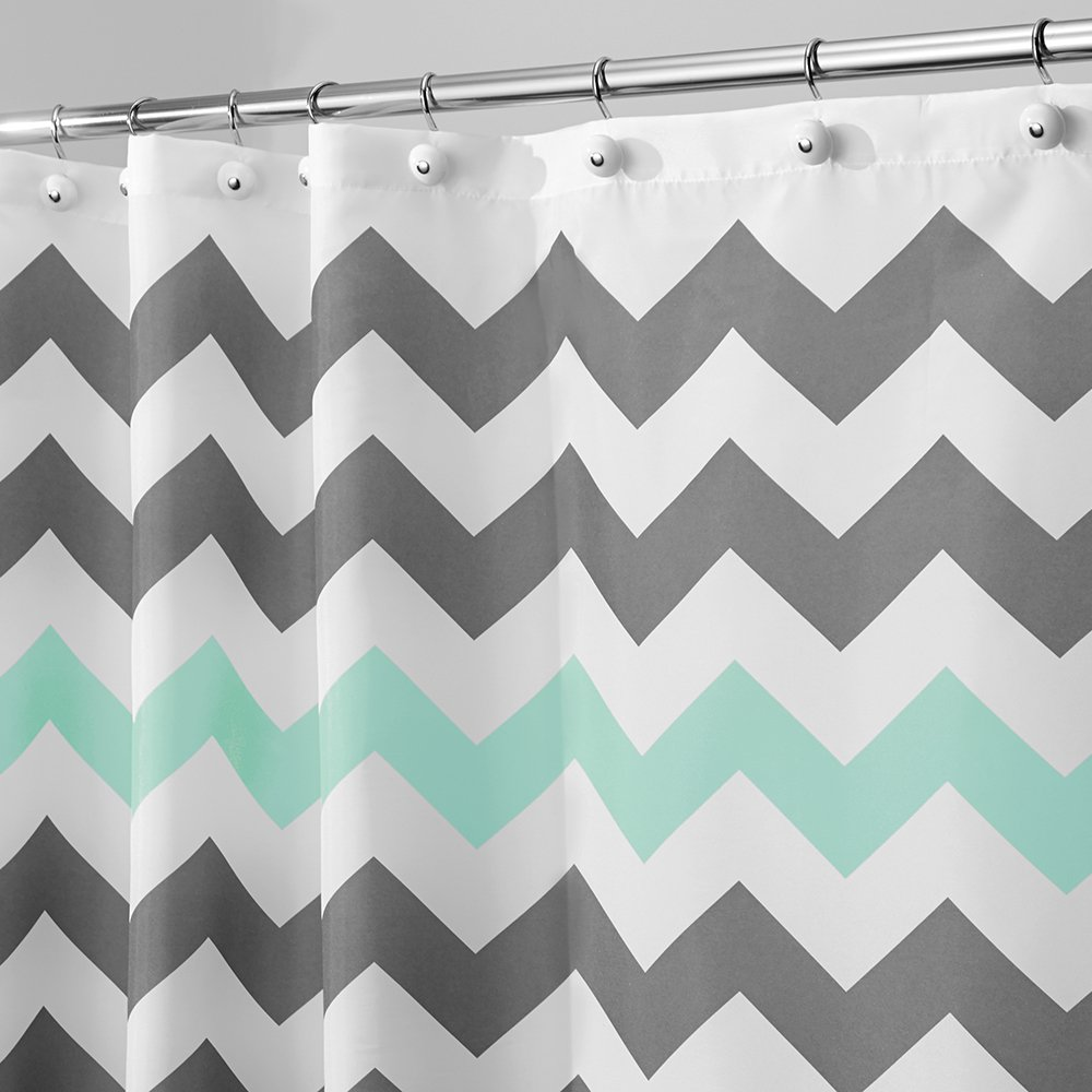 Shower curtains gray and teal chevron zig zag 72x72 for Teal and grey bathroom sets