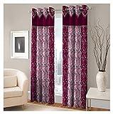 FASHIONFAB 2 Piece Polyester Door Curtain - 7ft, Maroon