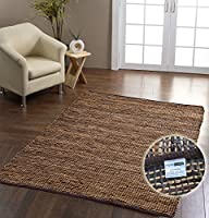Homescapes Madras Leather Hemp Rug - Brown - 3 x 5 ft by Homescapes