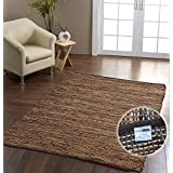 Homescapes� Madras Leather Hemp Rug - Brown - 4 x 6 ftby Homescapes