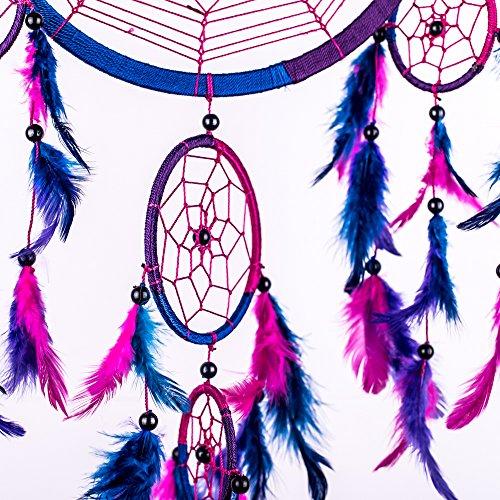 "Dream Catcher ~ Handmade Traditional Royal Blue, Pink & Purple 8.5"" Diameter 24"" Long!"