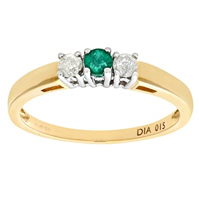 Naava 9ct Yellow Gold Diamond and Emerald 3 Stone Ladies Ring