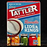 Tattler Reusable Regular Canning Lids and Rubber Rings, BPA Free, Dishwasher Safe (Pack of 12)
