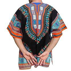 RaanPahMuang Brand Unisex Bright Coloured African Dashiki Cotton Shirt