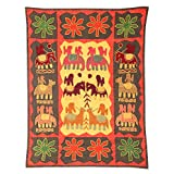 Rajrang Home Décor Embroidered Patch Work Orange Wall Hanging - B00TQRN5MS