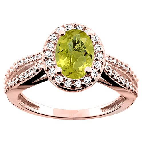 14ct Rose Gold Natural Lemon Quartz Ring Oval 8x6mm Diamond Accent 7/16 inch wide, size R