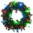 WeRChristmas 36 cm Pre-Lit Tinsel Wreath with Berries 20-LED Lights Holly Leaf Christmas Decoration