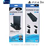 PS4/PS4 Slim 3 in 1 Charging Stand & Cooling Fan, Simply Drop & Charge 2 PS4 Dualshock Any Color, Keep the Console Temperature Cool & Transfer Data w/USB Hub, 3 USB Ports & 2 Super Cool Fans Included