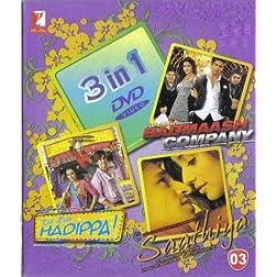 3 in 1 DVD - Yash Raj Films :- Badmaash Company / Dil Bole Hadippa! / Saathiya