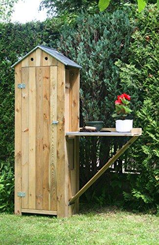 dobar-schweres-Gartengertehaus-aus-Holz-mit-ausklappbarem-Pflanztisch-Gartenschrank-fertig-aufgebaut-130-x-48-x-185-cm-44-kg-natur-beige